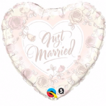 "Just Married Roses Foil Balloon (18"") 1pc"